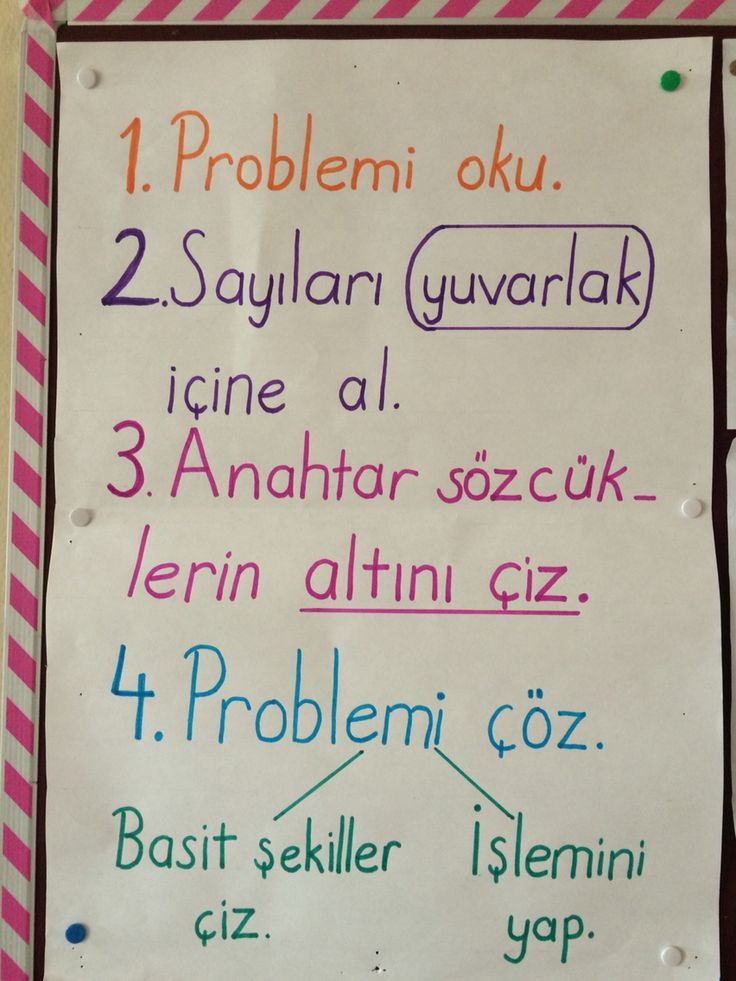 1. Sınıf matematik pano. Problem çözme.first grade math