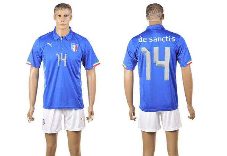 Italy Home 2014 The World Cup Morgan De Sanctis 14# Blue Football Shirt And White Shorts prices USD $19.50 #cheapjerseys #sportsjerseys #popular jerseys #NFL #MLB #NBA