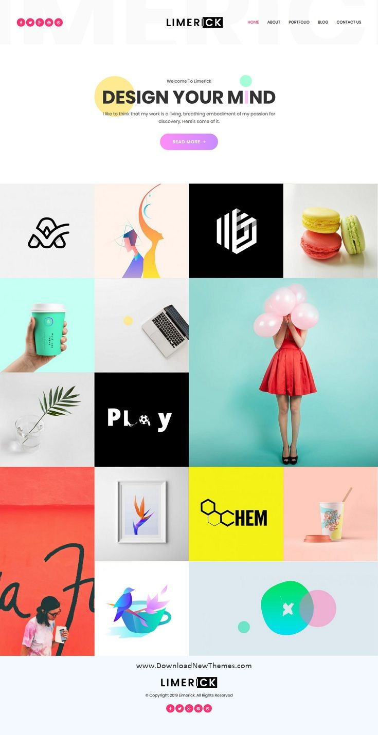 Limerick Is A Clean Colorful And Modern Design Responsive Wordpress Template For Creative Designers Freelance Portfolio Templates Responsive Design Templates