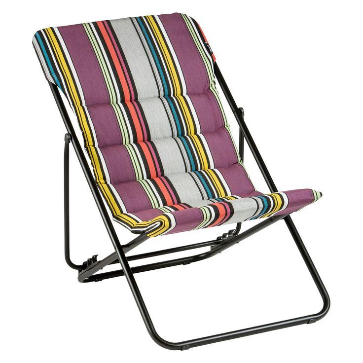 Outdoor Lafuma Stripe Sunbrella Maxi Transat Folding Sling Chair - Set of 2 - LFM2747-8381