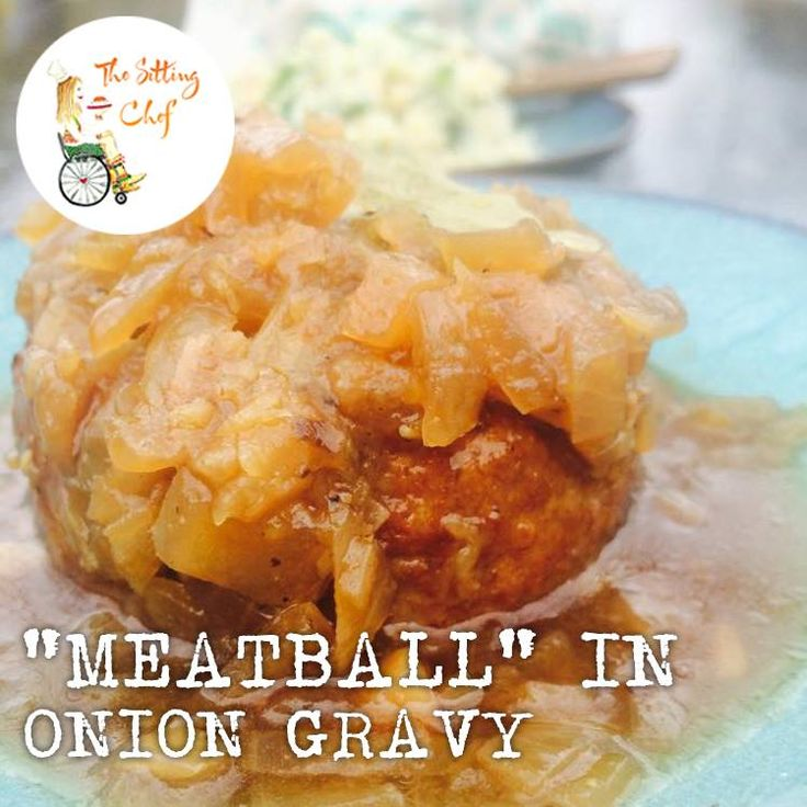 The best meatball in town from The Vegetarian Butcher with an onion gravy.