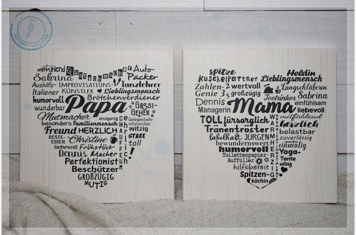 Wanddeko - Holzschild Herz Wunschdruck eigener Text Geschenk - ein Designerstück von Sommerweg bei DaWanda