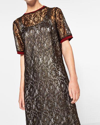 ABITO IN PIZZO DORATO-VESTITI-TRF   ZARA Italia Now in my closet! Lace golden long dress