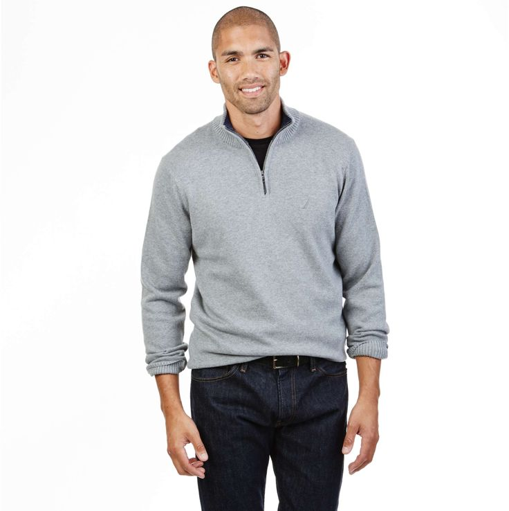 Solid Quarter Zip Pullover - Mooring Grey Heather | Nautica