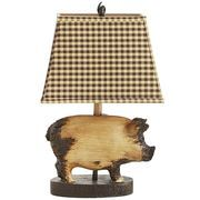 Now here's a lamp that goes whole hog. Fashioned with a distressed pig figure, curly tail finial and checkered shade, it offers a chic farmhouse feel to end tables, nightstands and reading nooks. And you won't have to break your piggy bank to get it.