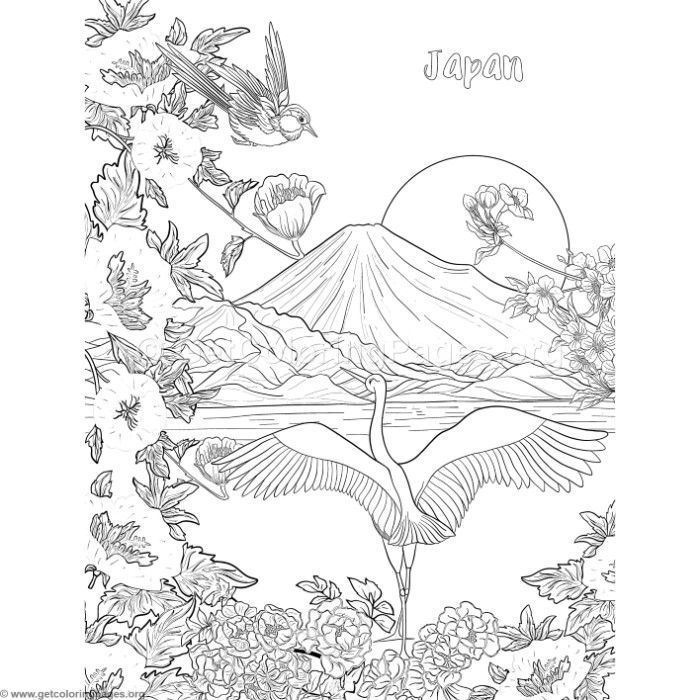 Free Download Japanese Painting Fuji Mountain Birds And Flowers Coloring Pages Coloring Coloringbook Color Coloring Pages Bird Coloring Pages Coloring Books