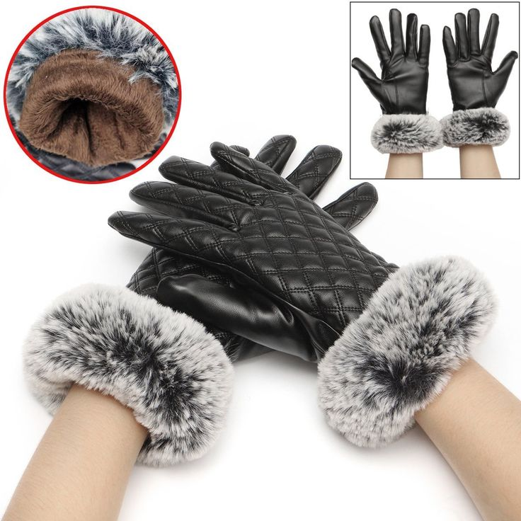 Women Ladies Artificial Leather Gloves Faux Rabbit Fur Velvet Linen Screentouch Outdoor Mittens at Banggood