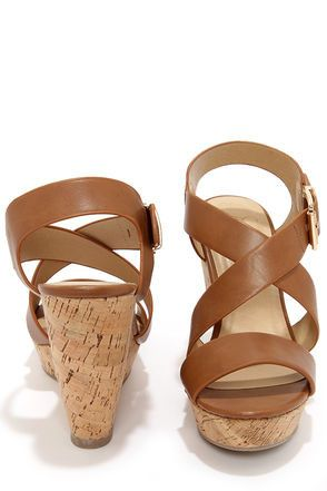Cute Tan Wedges - Platform Sandals - Wedge Sandals - $24.00