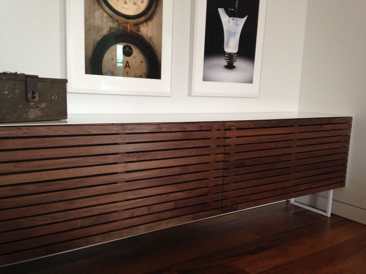 Solid walnut media cabinet for a private client in Toronto.