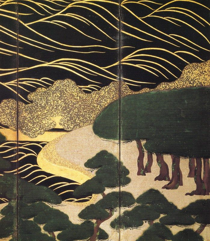Detail. 浜松図 部分 Sandy beach and pine trees. 俵屋宗達 Tawaraya Sōtatsu. Japanese folding screen. Edo period.