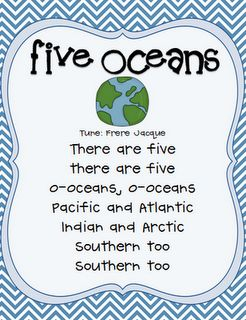 """Standard SS1G3 Song to help students remember names of the oceans. To the tune of """"Are you sleeping""""."""