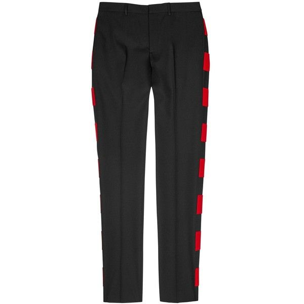Givenchy Felt-appliquéd Twill Trousers - Size W32 ($905) ❤ liked on Polyvore featuring men's fashion, men's clothing, men's pants, men's casual pants, mens red pants and mens twill pants