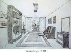 dibujo de una habitacion con un punto de fuga - Buscar con Google