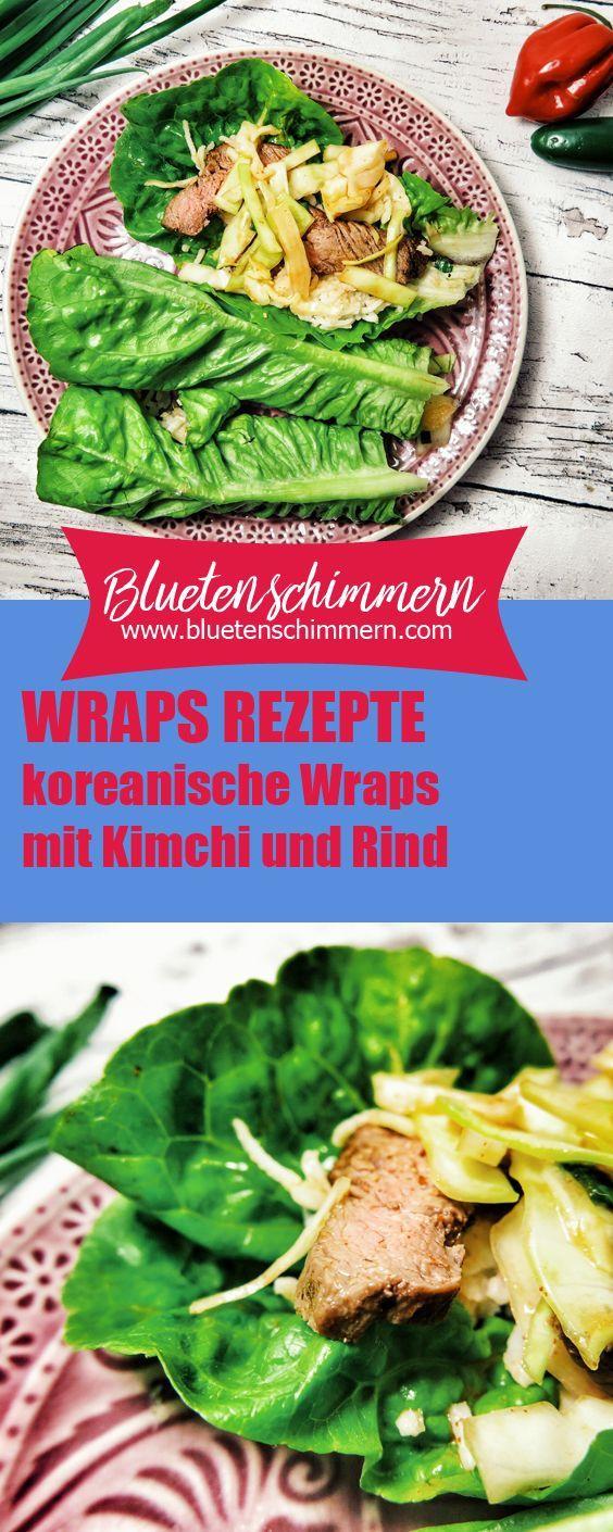 Leckere, koreanische Wraps – Salatwraps mit Kimchi und Rindersteak. Diese Low Carb Wraps sind unheimlich lecker & super schnell gemacht – hättest du gedacht, dass asiatische Wraps so lecker sein können? Das Rezept findest du auf dem Blog!