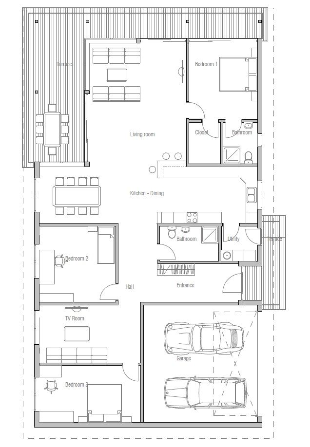 Contemporary home plan to wide lot. Three bedrooms, two living areas. Abundance of natural light.
