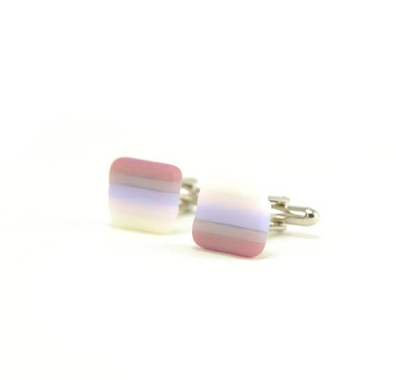 Cute cuff links with vanilla white, pastel pink, lavender, mauve and plum pink stripes for him :)