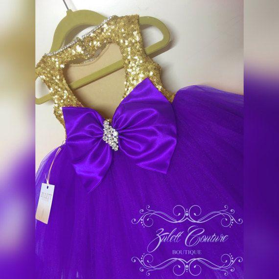 Vestido de cumpleaños  lentejuelas oro  púrpura oro blanca