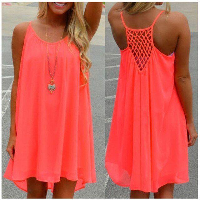 Damen Kleid Frauen Strand Sommer Kleid Spaghettibügel Ärmellos Beachwear