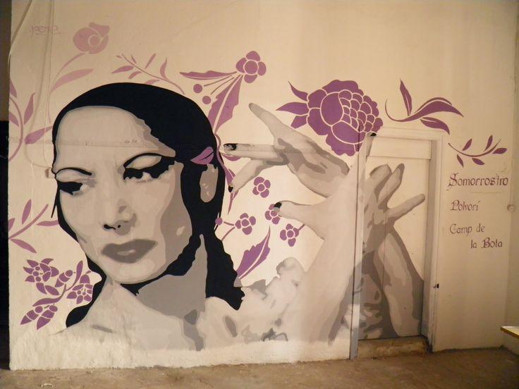 Homenatge a la Barcelona gitana a través de la imatge de Carmen Amaya. Concurs de graffiti de Can Vies. Sants, 2016