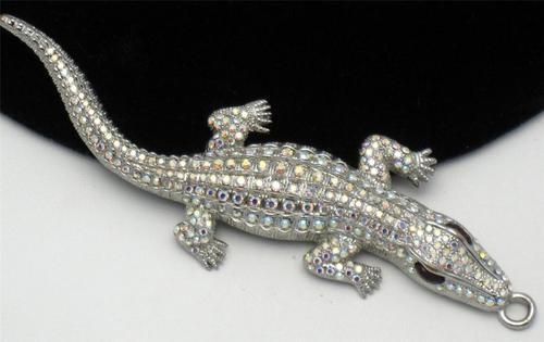 Huge Butler Wilson Vintage AB Rhinestone Alligator Crocodile Pendant   eBay