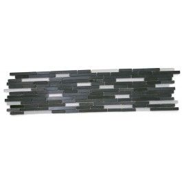 Shop 6 x 24 Stanza Polished, Frosted + Honed Marble + Glass Tile in Basalt Stone + Super White at TileBar.com.
