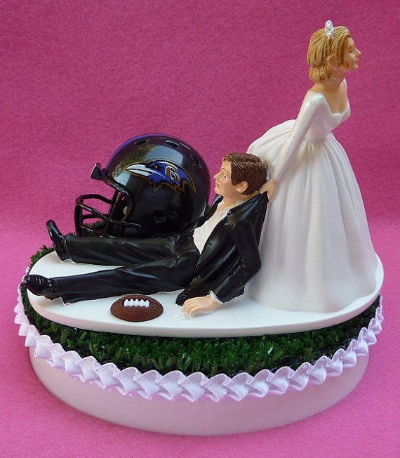 Wedding Cake Topper Baltimore Ravens Football Themed