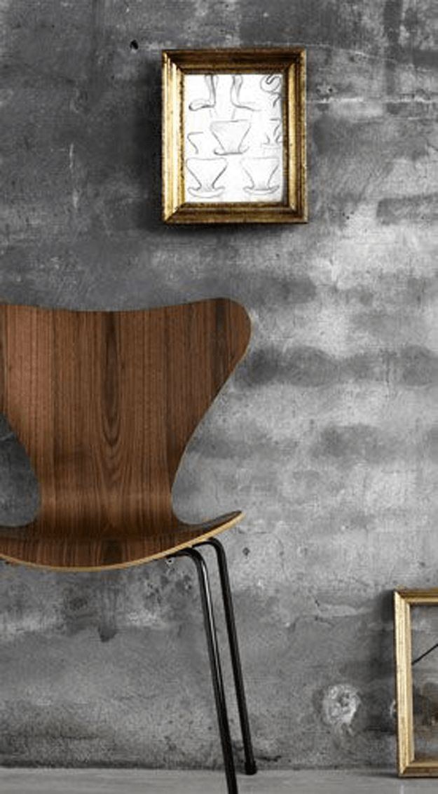 chocolate brown bentwood chair, dark walnut, mid-century modern chair, gray concrete wallpaper, industrial wallpaper, sketch wall art, benjamin moore french press