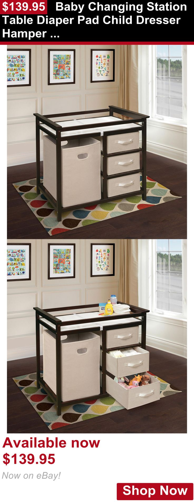 Changing Tables: Baby Changing Station Table Diaper Pad Child Dresser Hamper Espresso Beige Color BUY IT NOW ONLY: $139.95