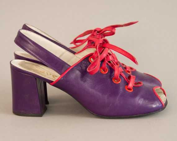 Purple Peep Toes  Vintage 70s Purple Leather Shoes Peeptoe
