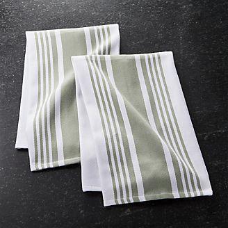 Cuisine Stripe Sage Green Dish Towels, Set of 2
