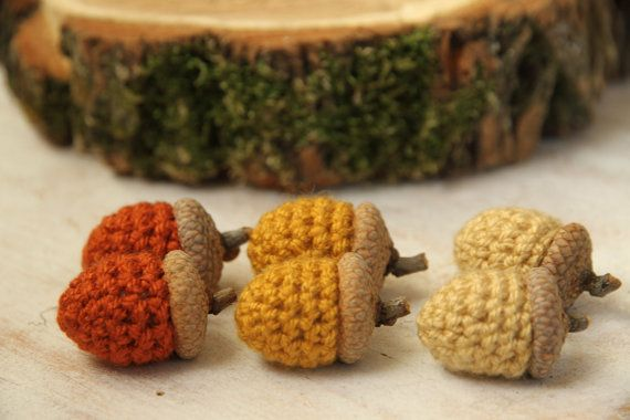 ACORNS  set of 6 crocheted fall autumn home decor by PETITmiracles