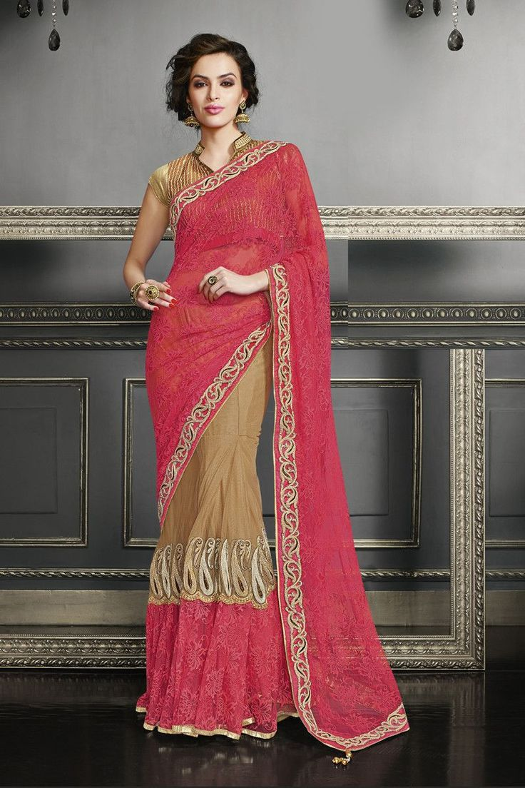 Buy Pink and Beige Net Designer Saree Online in low price at Variation. Huge collection of Designer Sarees for Wedding. #designer #designersarees #sarees #onlineshopping #latest #lowprice #variation. To see more - https://www.variationfashion.com/collections/designer-sarees