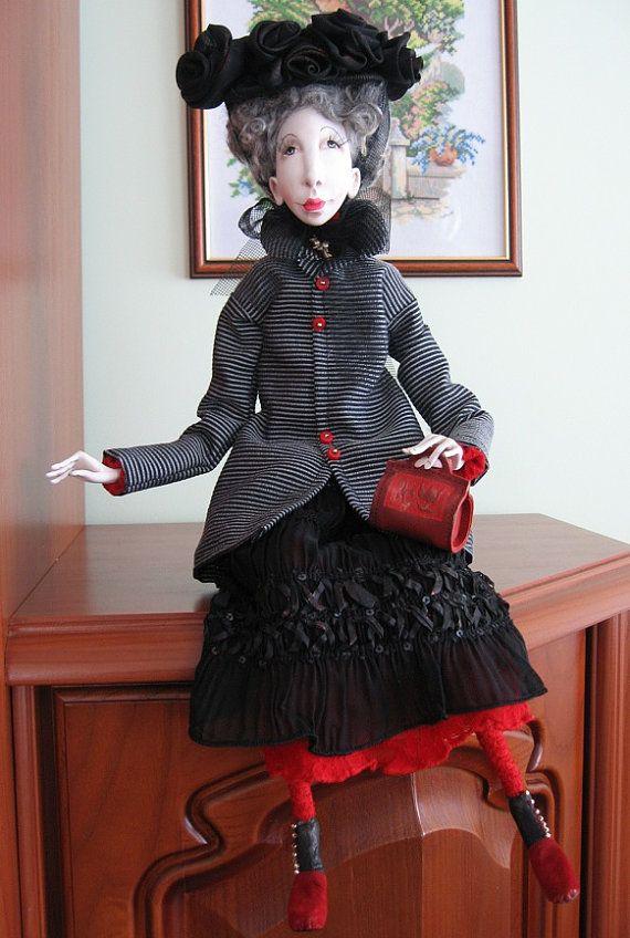 Agata Art doll OOAK Paper clay doll Handmade art doll