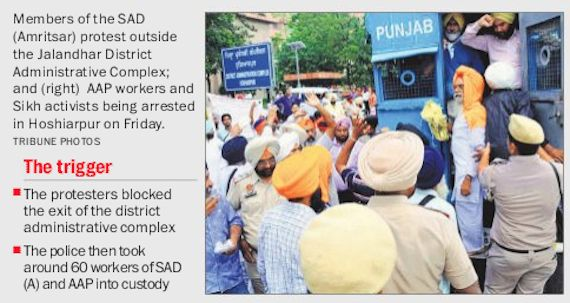 Mann Dal, Aam Aadmi Party workers arrested after protest in support of Bapu Surat Singh - http://sikhsiyasat.net/2015/07/25/mann-dal-aam-aadmi-party-workers-arrested/