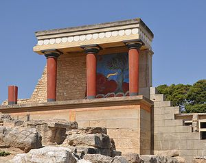Palazzo di Cnosso - corridoio con particolare scena lotta con il toro