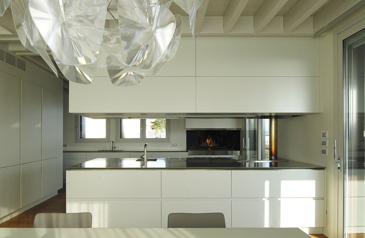 kitchen TIME 45° - suspended unit that contains the hood, plate rack and led lighting