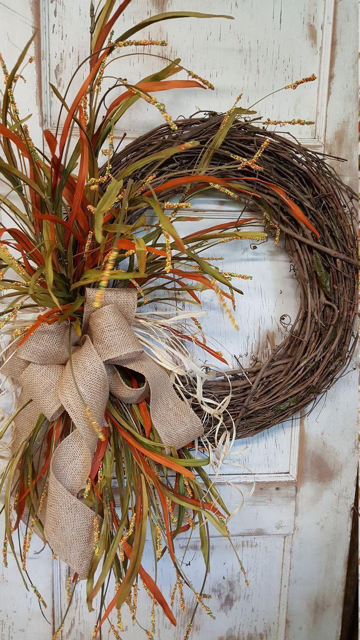 Fall Front door wreath, Wreath for front door- Wreath Great for All Year Round - Everyday Burlap Wreath, Door Wreath