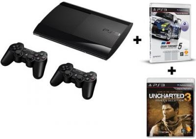 PS3 500GB Console + 2 x Dual Shock Controllers + Gran Turismo 5 Academy Edition + Uncharted 3 GOTY