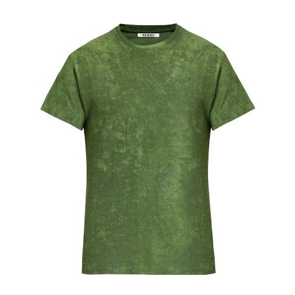 HECHO Crew-neck French terry-towelling T-shirt (57.230 CLP) ❤ liked on Polyvore featuring men's fashion, men's clothing, men's shirts, men's t-shirts, green, mens terry cloth shirt, mens green shirt, mens slim fit t shirts, mens slim t shirts and j crew mens shirts