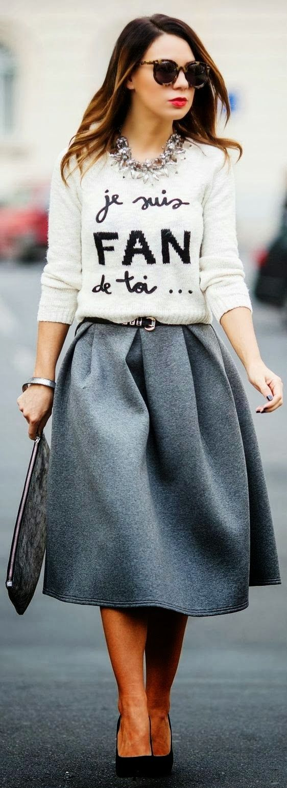 Street fall fashion with sweater and skirt