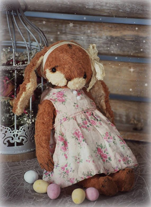 Marusia :) OOAK Vintage Style Sweet Artist Bunny Rabbit by Natali Sekreta -  Antique style  - stuffed - home decor - gift - Birthday