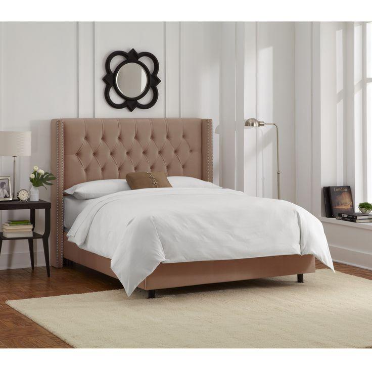 Skyline Furniture Cocoa Velvet Diamond Tufted Wingback Nail Bed (California King, Cocoa), Tan