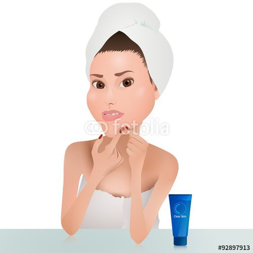 I have added vector graphic on Fotolia - Woman Squeeze Pimple   Lidija Arts