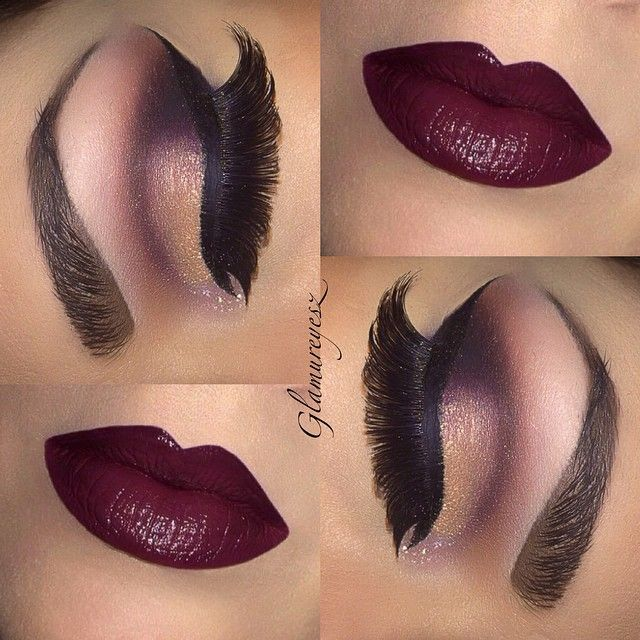 #ShareIG Quite like this combo of this oldie eye makeup and this lip colour I did recently for fall wat do you think ? with just a hint of glitter on the inner corner rather than the full lid ? http://pinsta.me/makeupbyglamureyesz
