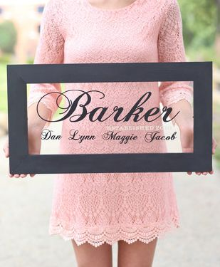Such a sweet keepsake - Your Married Name - and the year your family was established.