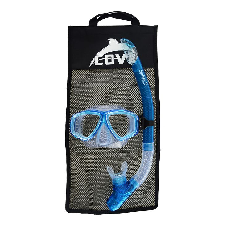 • Mask with silicone skirt and strap • Silicone snorkel with large clearance purge • Splash guard • Carry-bag with handle