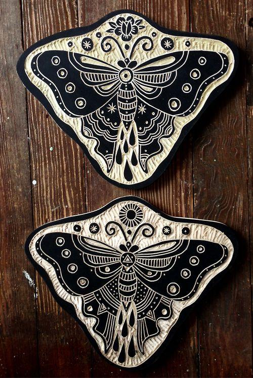 Bryn Perrott woodcuts. Butterflies 2013