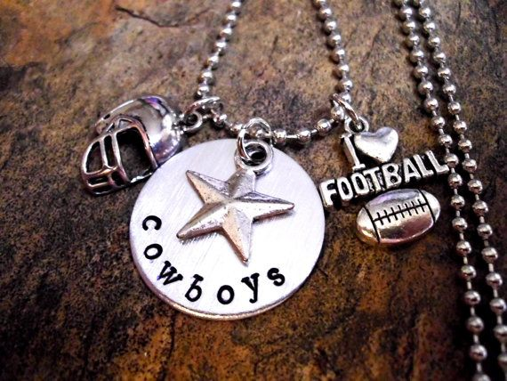 Personalized Football Charm Necklace, Football Necklace, Sports Jewelry, Football Jewelry, Dallas Cowboys Necklace on Etsy, $23.00