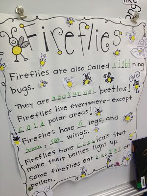 First Grader...at Last!: Shared writing fireflies.  Not sure why I never ought of the craft idea she lists here...students make yellow fingerprints on paper and then decorate as fireflies