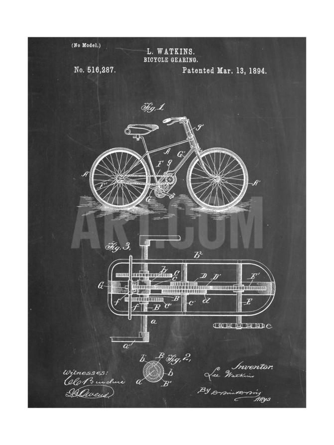 Bicycle Gearing Patent Art Print at Art.com